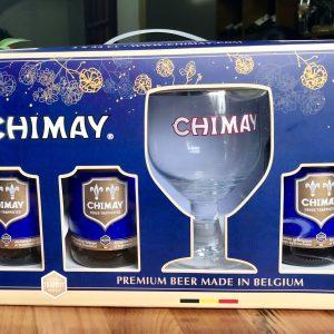 Bia Chimay xanh 9% hộp quà 3 chai và 1 ly