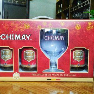 Hộp quà chimmay đỏ 3 chai + 1ly cao cấp của Bỉ